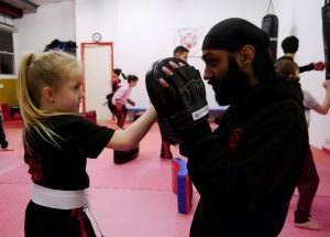 Gurmare with one of the students