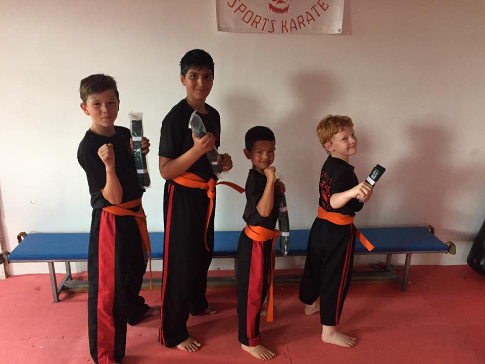 Children after grading for their green belts