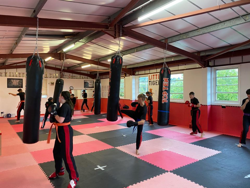 Adults' classes - student punching punch bag